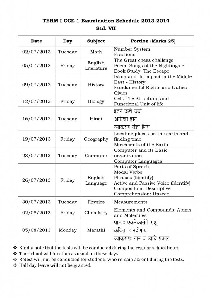 term i cce 1 examination schedule 2013 std. vi vii and viii-1