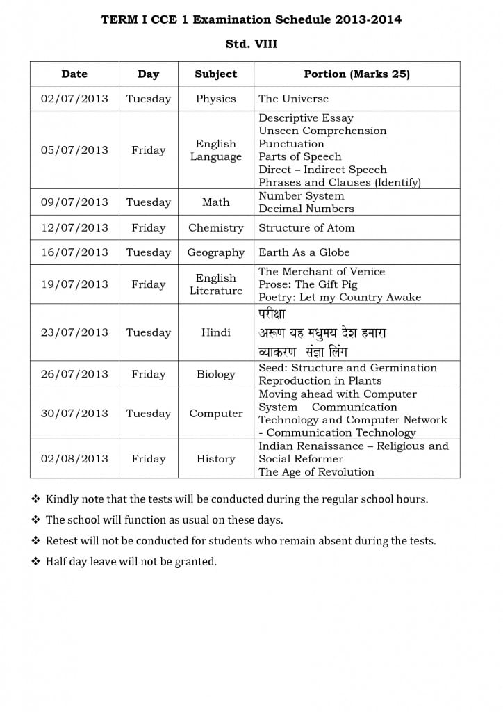 term i cce 1 examination schedule 2013 std. vi vii and viii-2