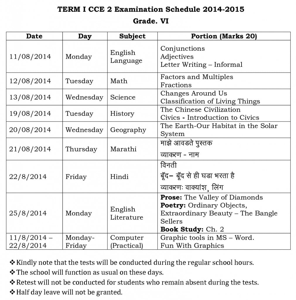 term i cce 2 examination schedule 2014 grade vi