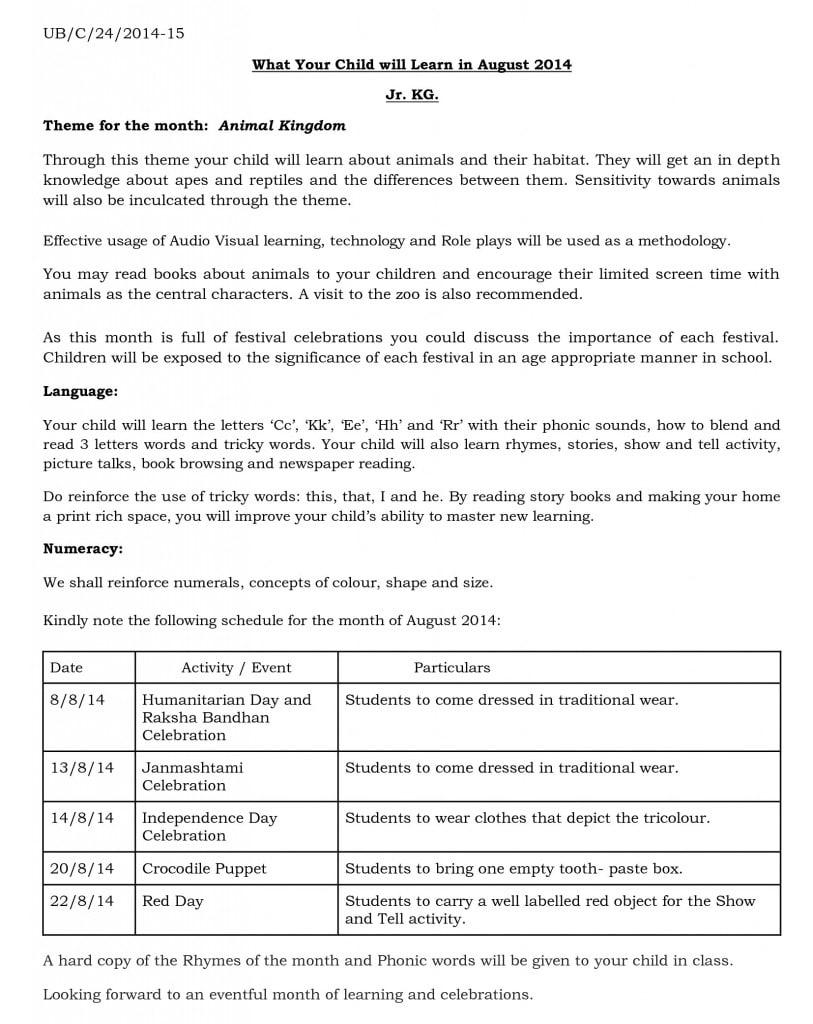 jr kg - synopsis - august 2014