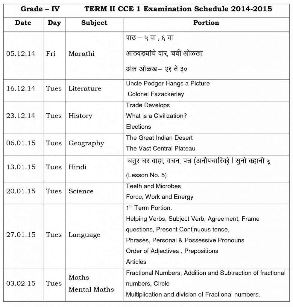 grade iv term ii cce i time table 2014-15