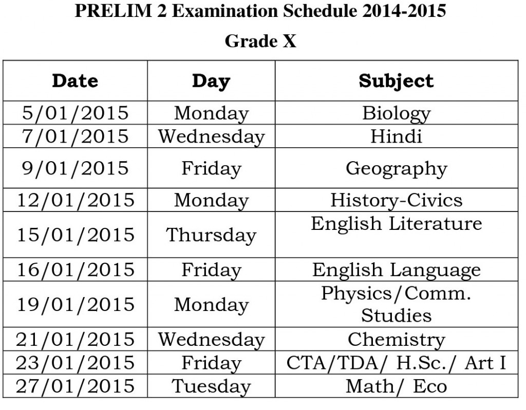 grade x prelim 2 schedule