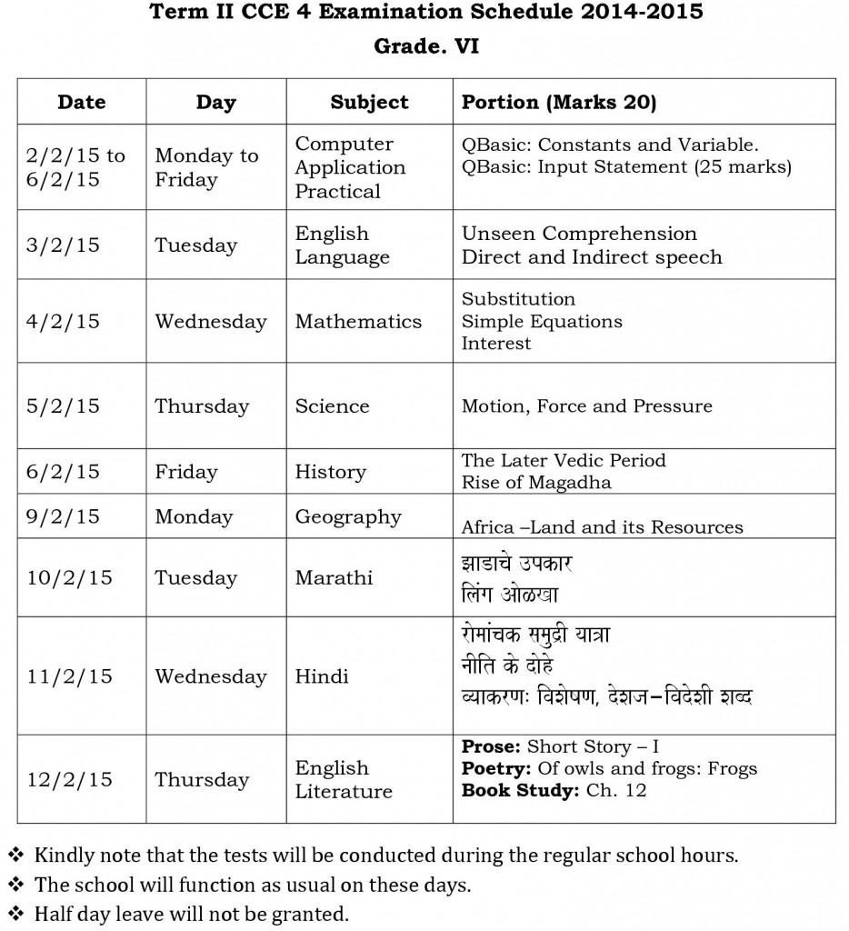 term ii cce 4 vi examination schedule 2014