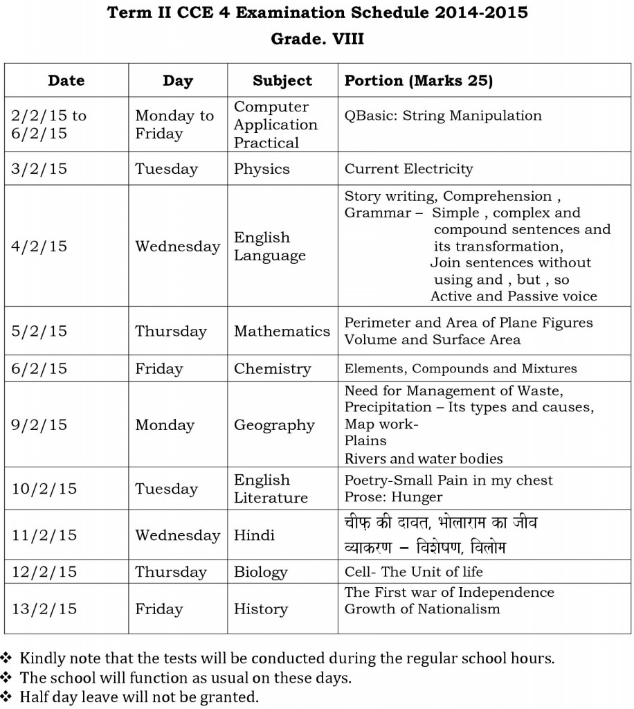 term ii cce 4 viii examination schedule 2011