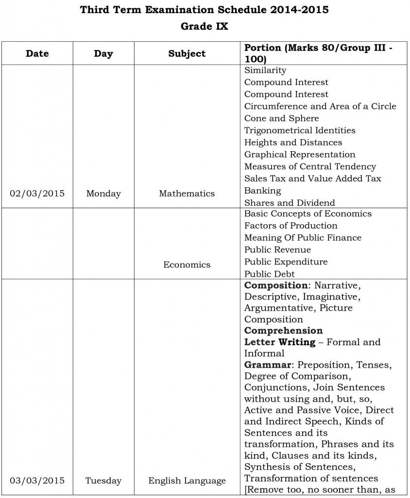 final exams schedule ix-0