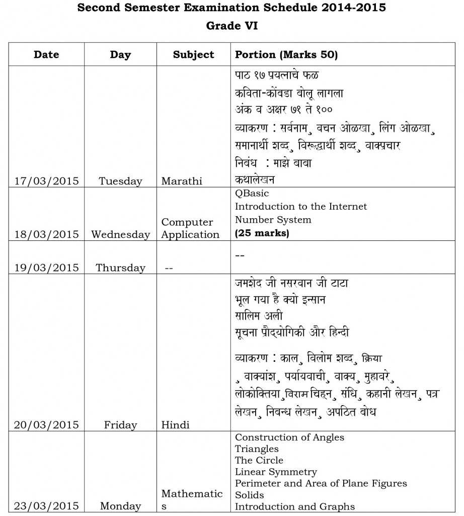 grade vi -second semester examination schedule 2014-0