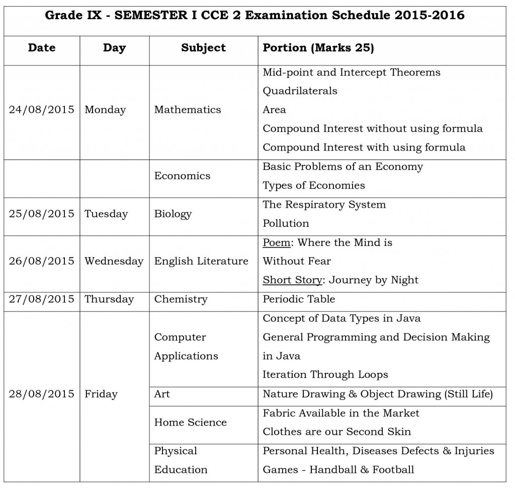 ix semester i cce 2 examination schedule 2015-0