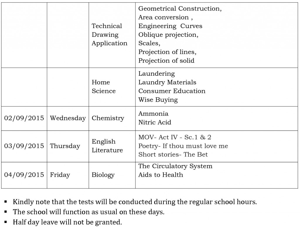 x semester i cce 2 examination schedule 2015-1
