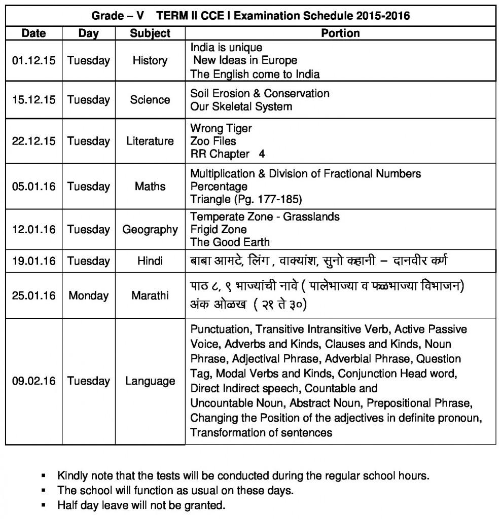 grade v - term ii cce i 2015-16 sju