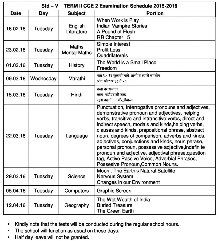 grade v - term ii - cce ii schedule