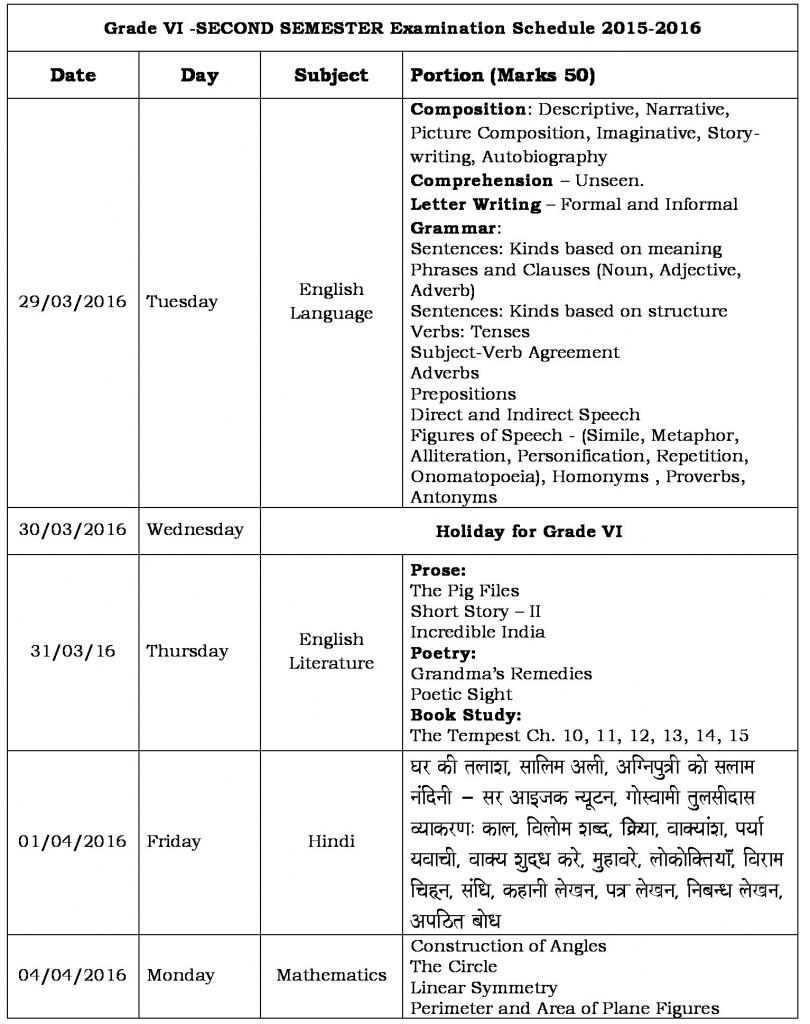 semester ii schedule grade vi-0