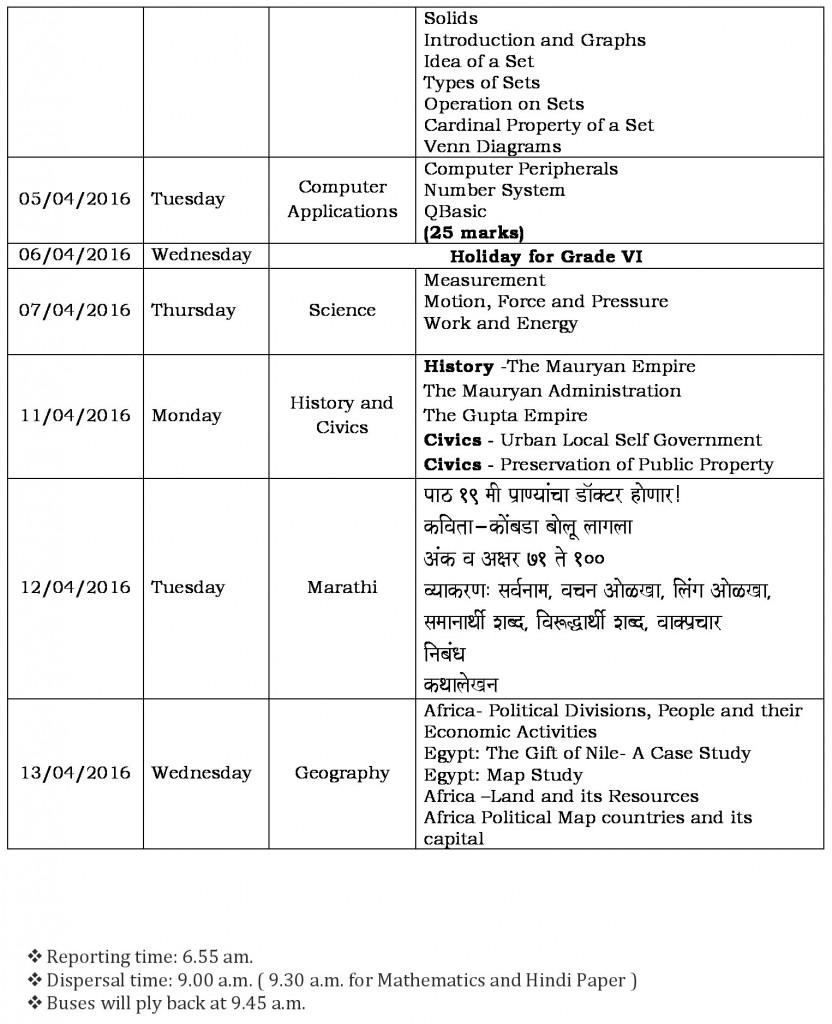 semester ii schedule grade vi-1