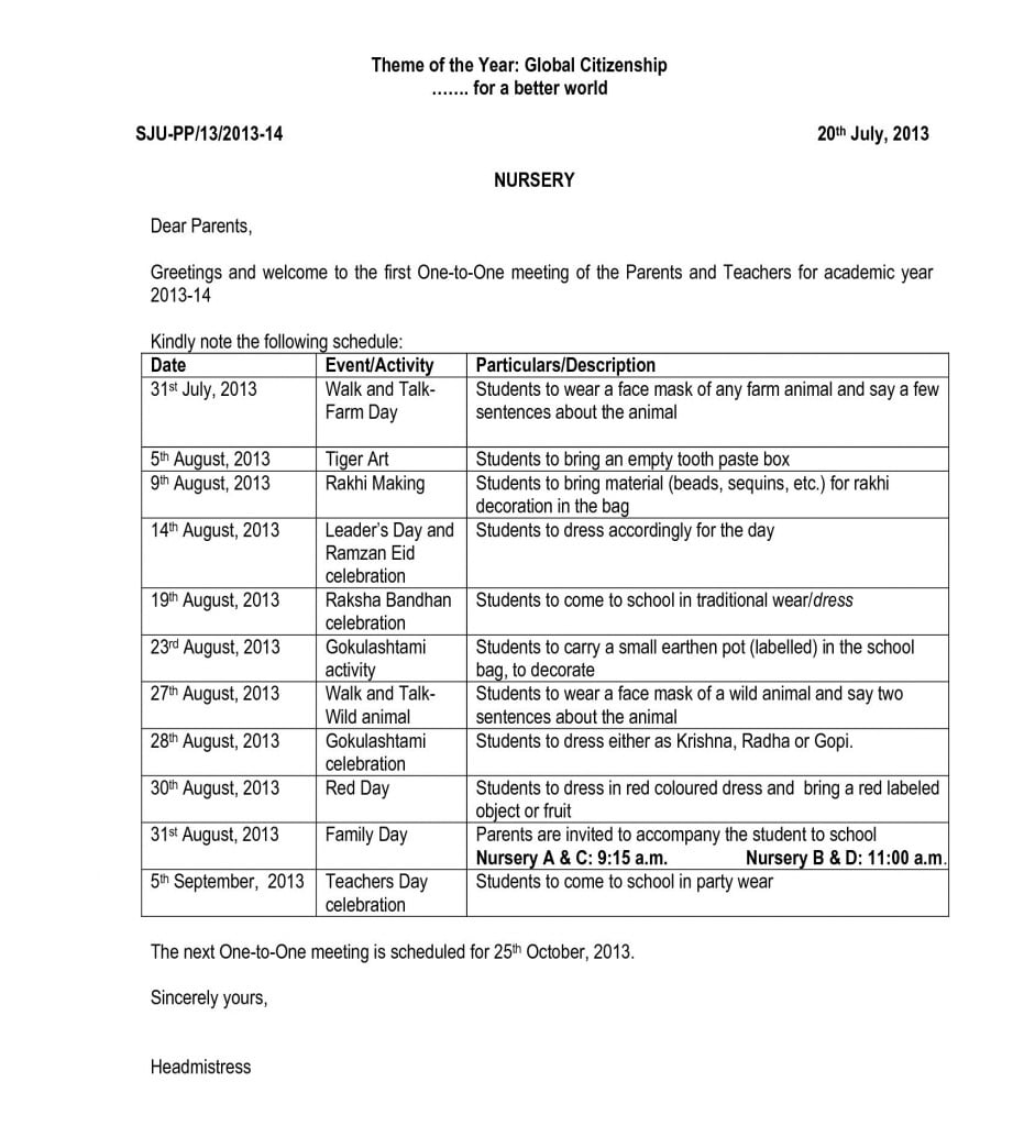 Circular of the First Visiting Day – Pre-Primary