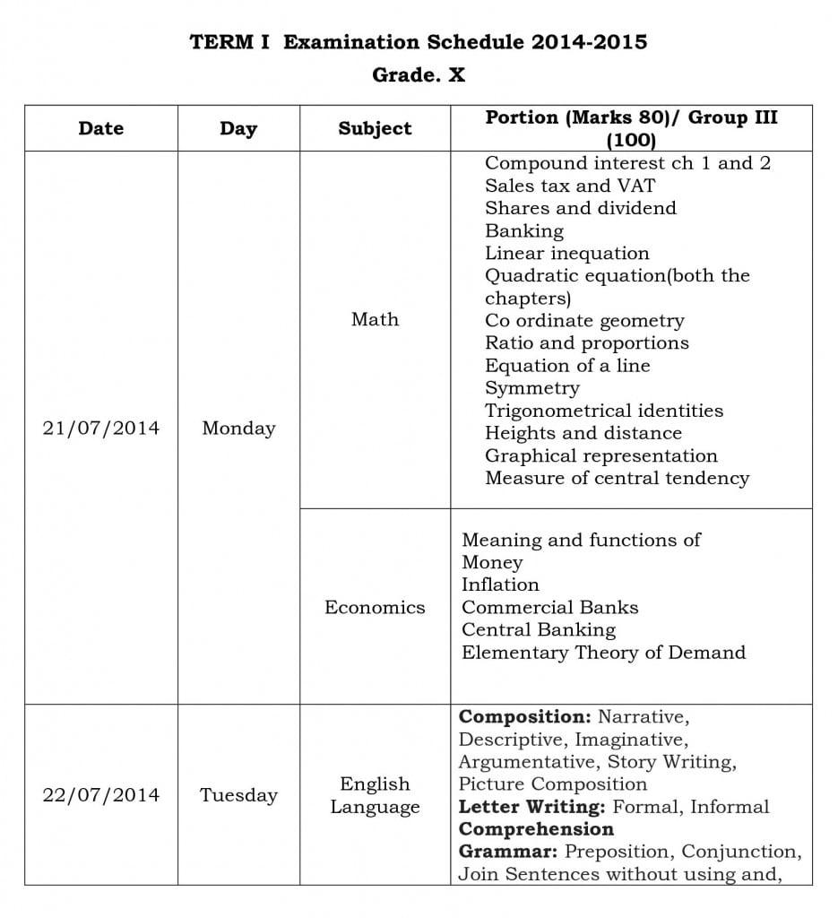 term i  examination schedule 2014 grade x o