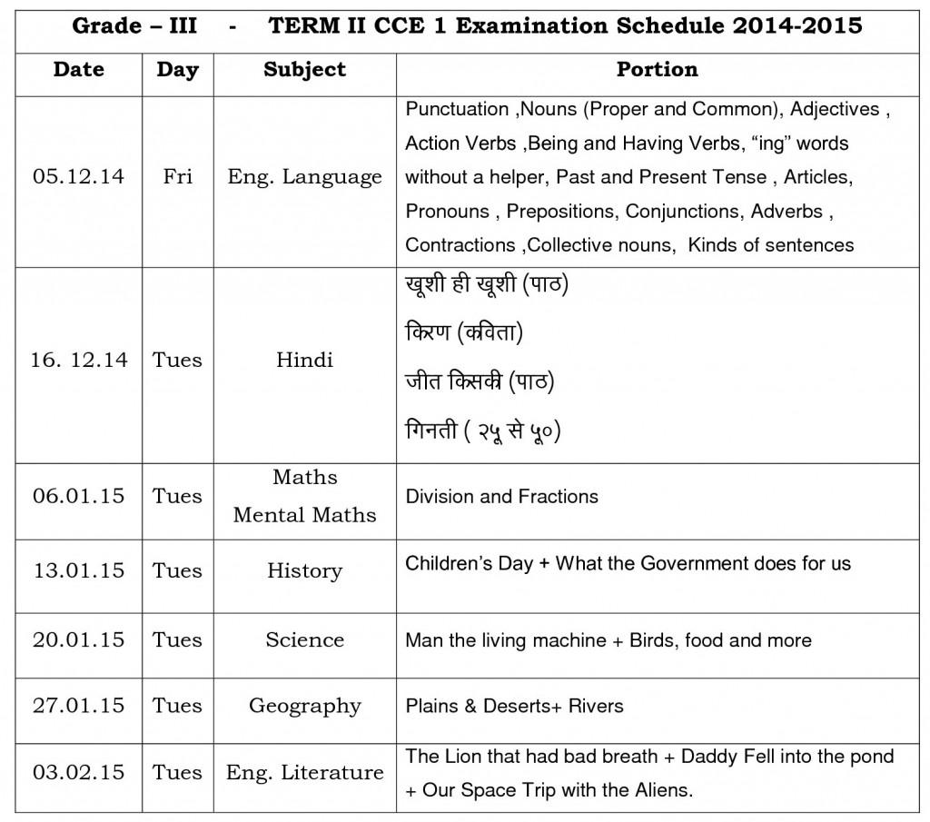 grade iii term ii cce i time table 2014-15