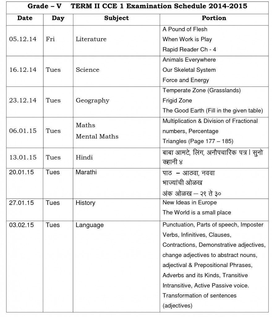 grade v term ii cce i time table 2014-15
