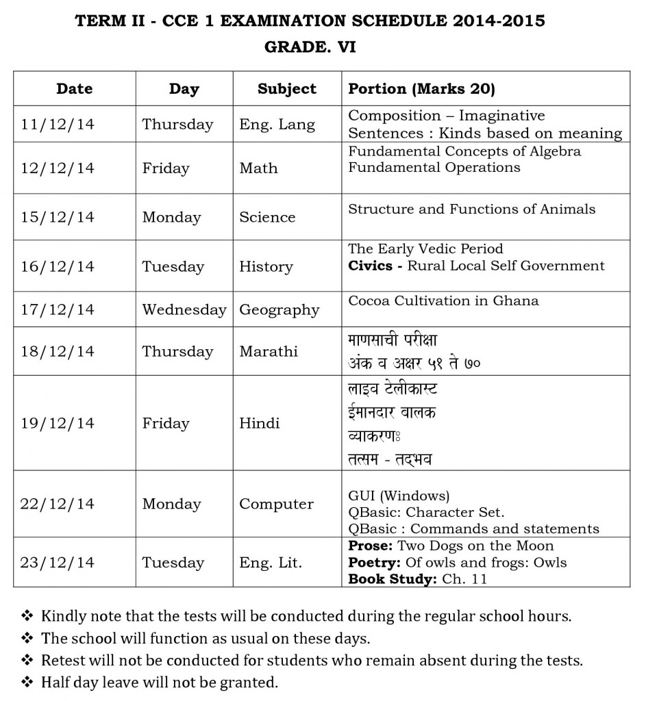 grade vi term ii - cce 1  examination schedule 2014