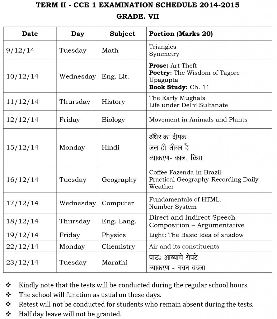 Term II – CCE 1 Examination Schedule
