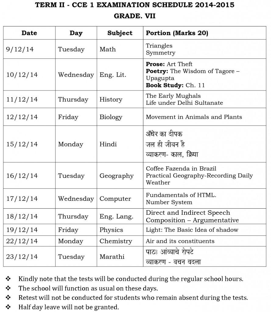grade vii term ii - cce 1  examination schedule 2014