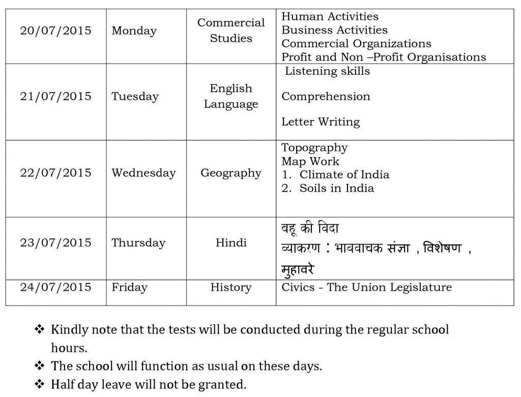 CCE 1 schedule – Grade IX