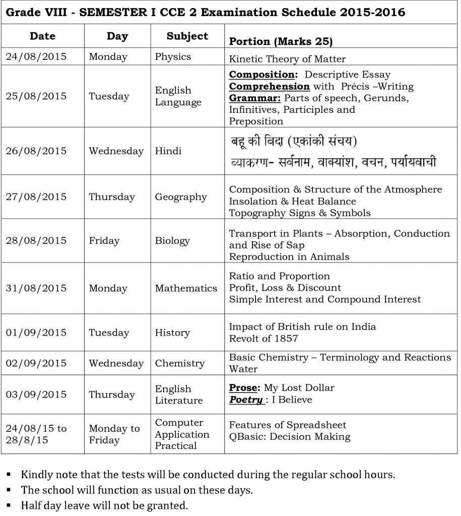 viii semester i cce 2 examination schedule 2015