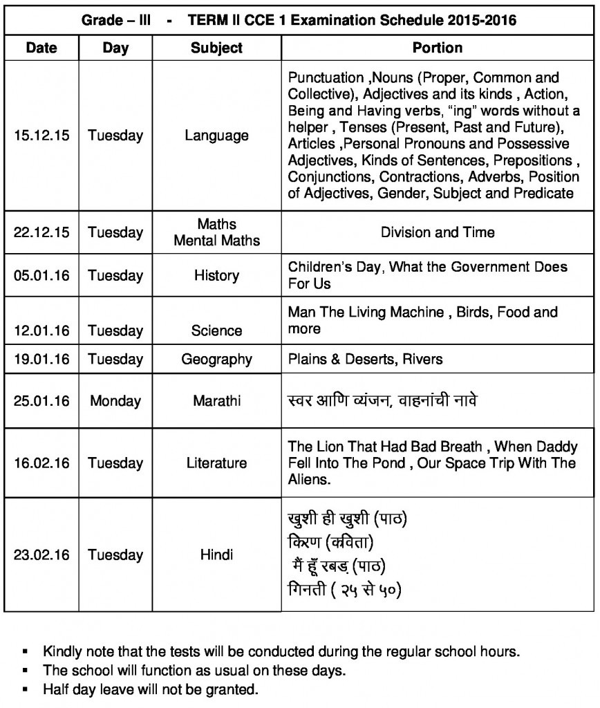 Term II CCE I Time Table