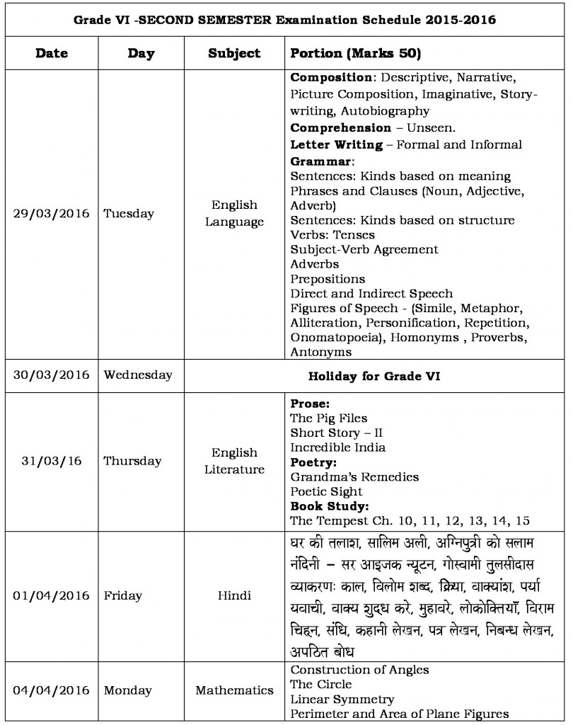 Schedule for Semester II Exams
