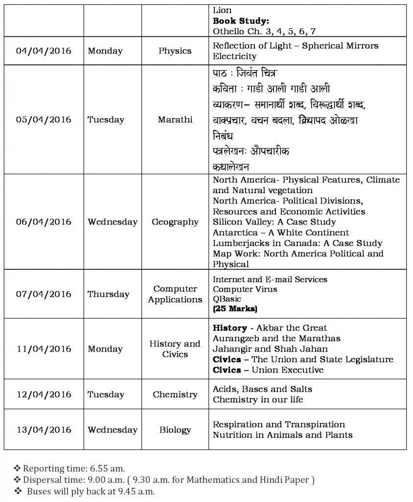semester ii schedule grade vii-1