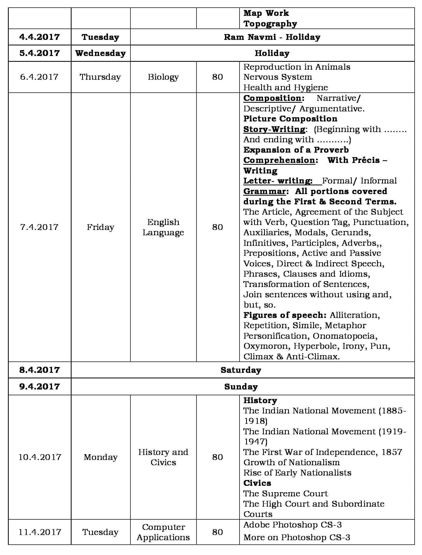 Second Semester Examination Schedule