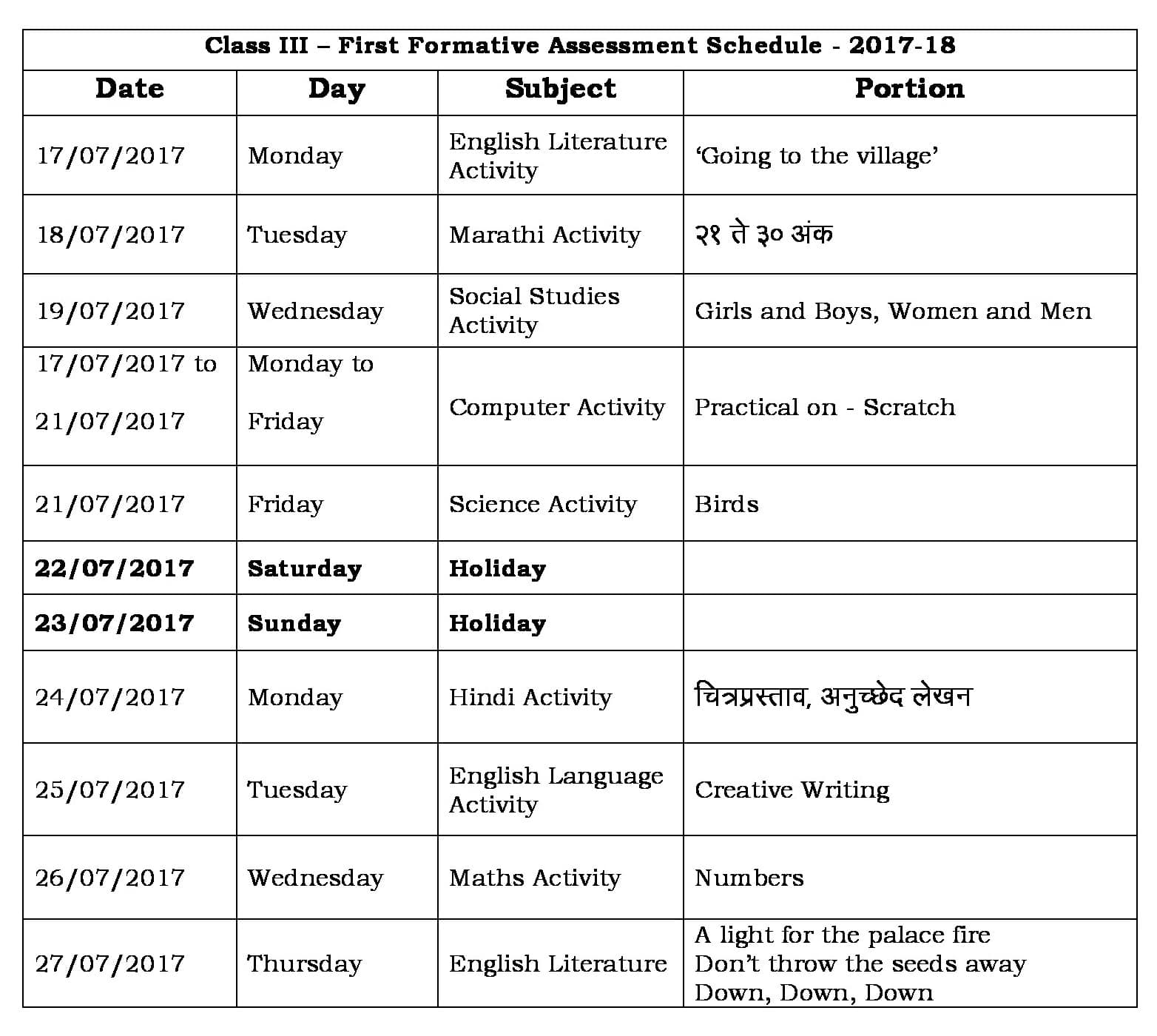 FA1 Portion and Schedule- 2017-18