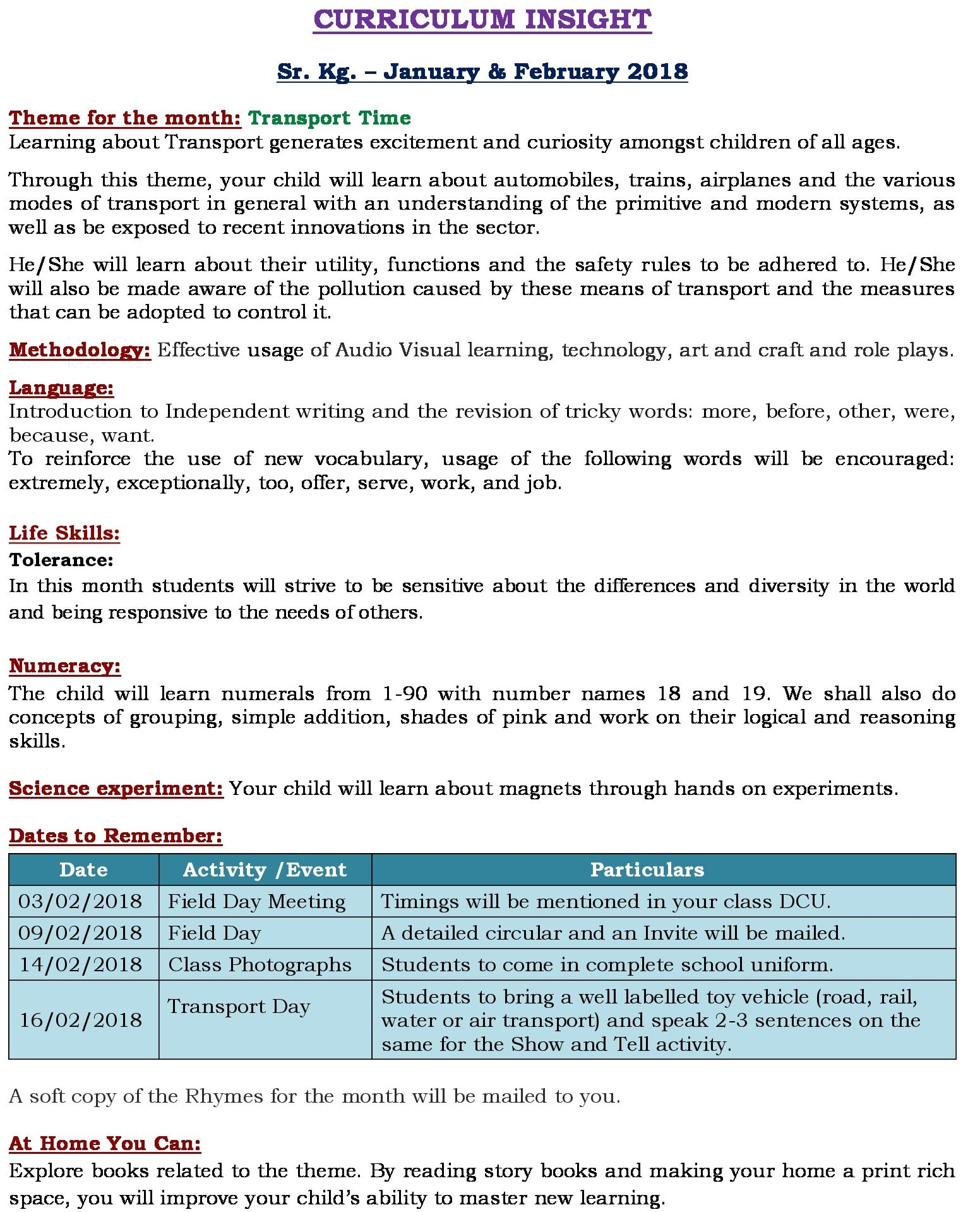 UB Curriculum Insight Jan – Feb 2018