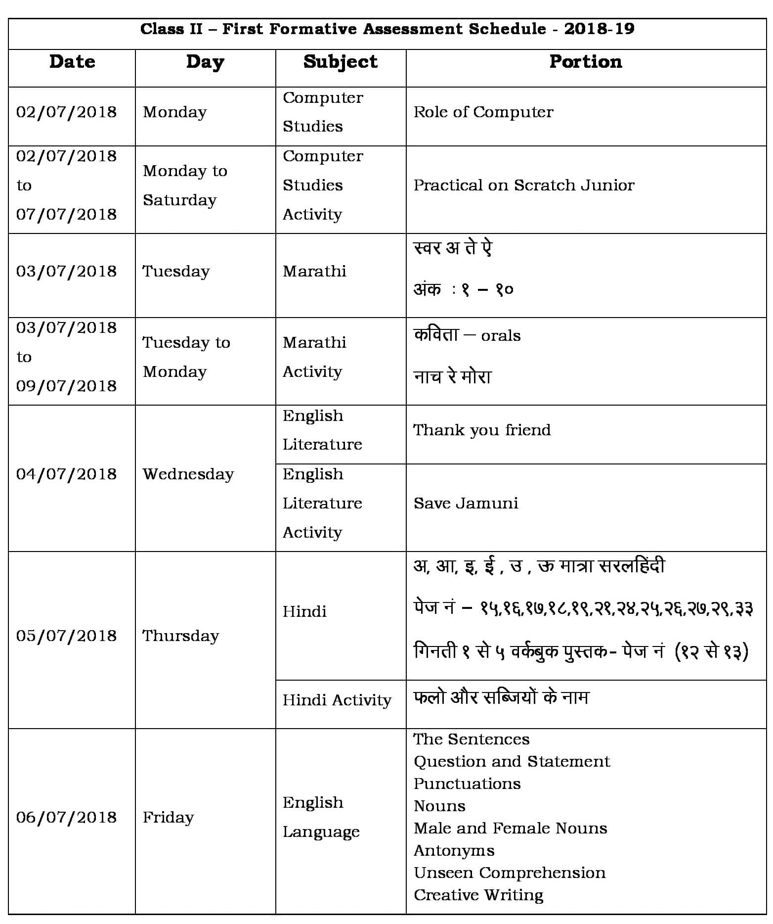 FA 1 Portion & Schedule 2018-19