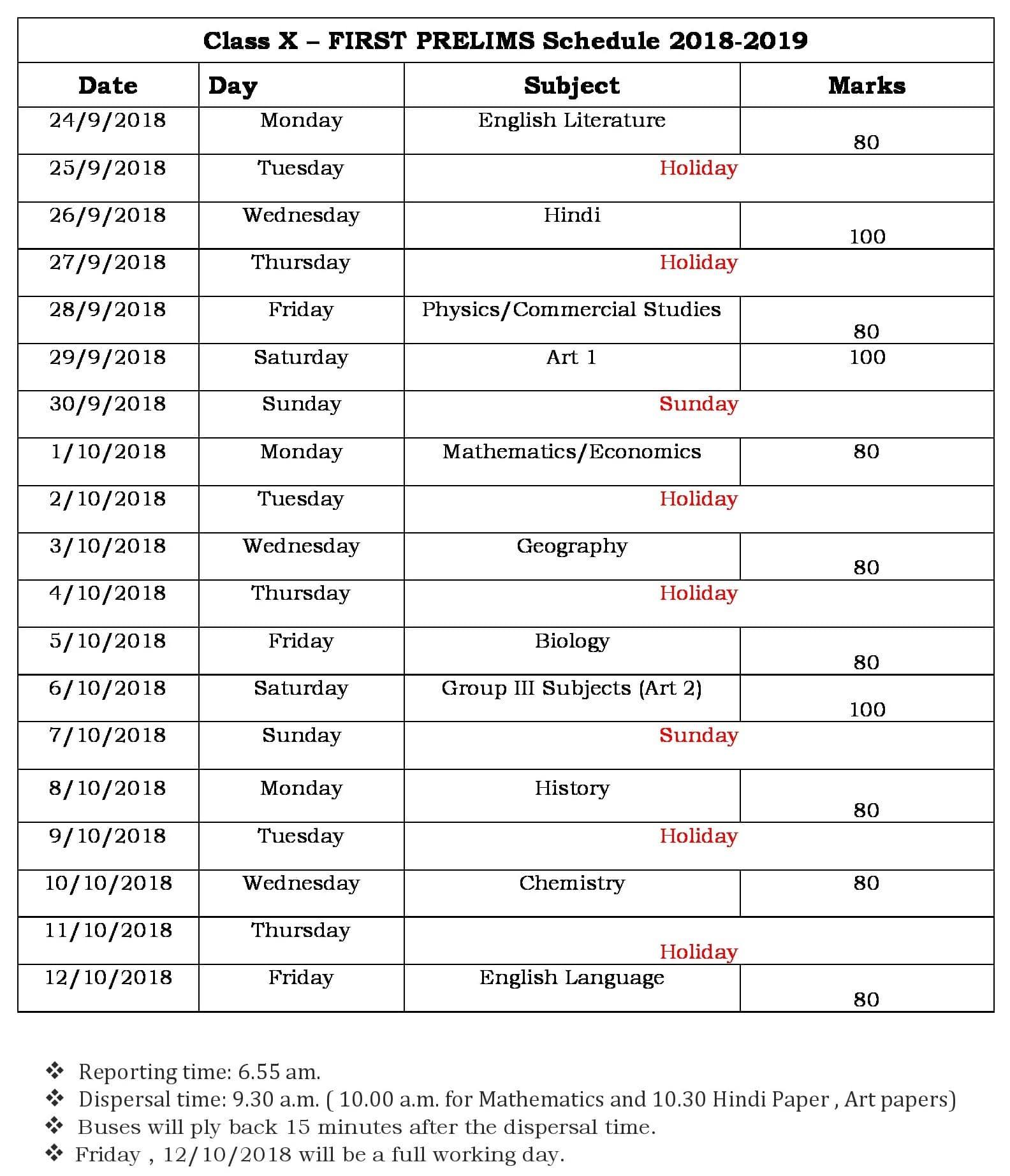 Prelim I Schedule