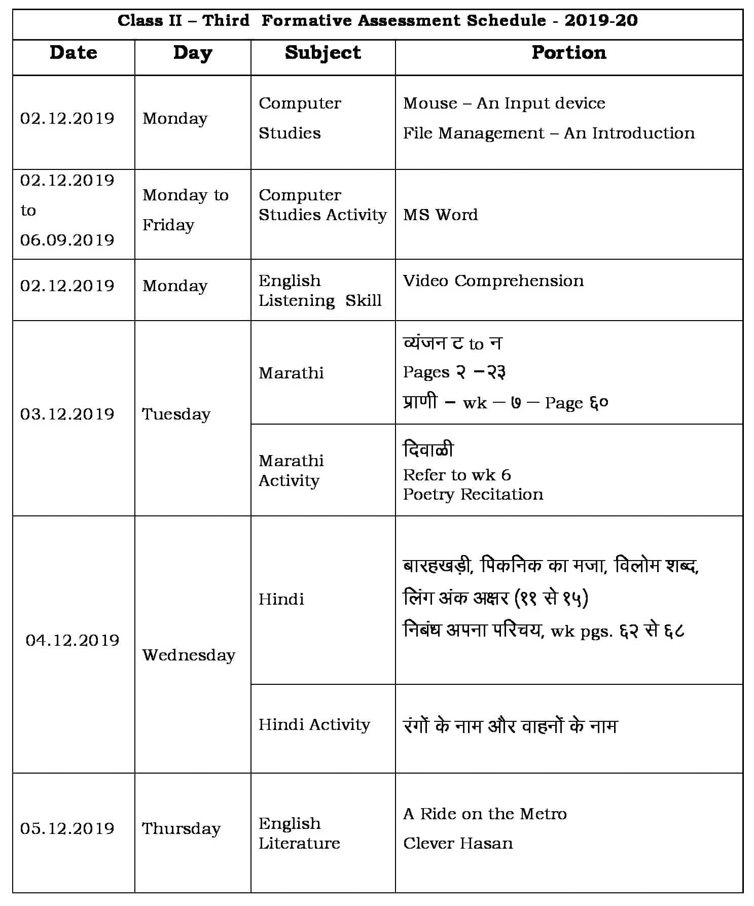 FA-3 Portion and Schedule 2019-20