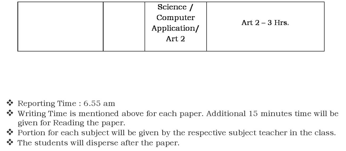 Class IX Prelim Exam Schedule- 2019-20