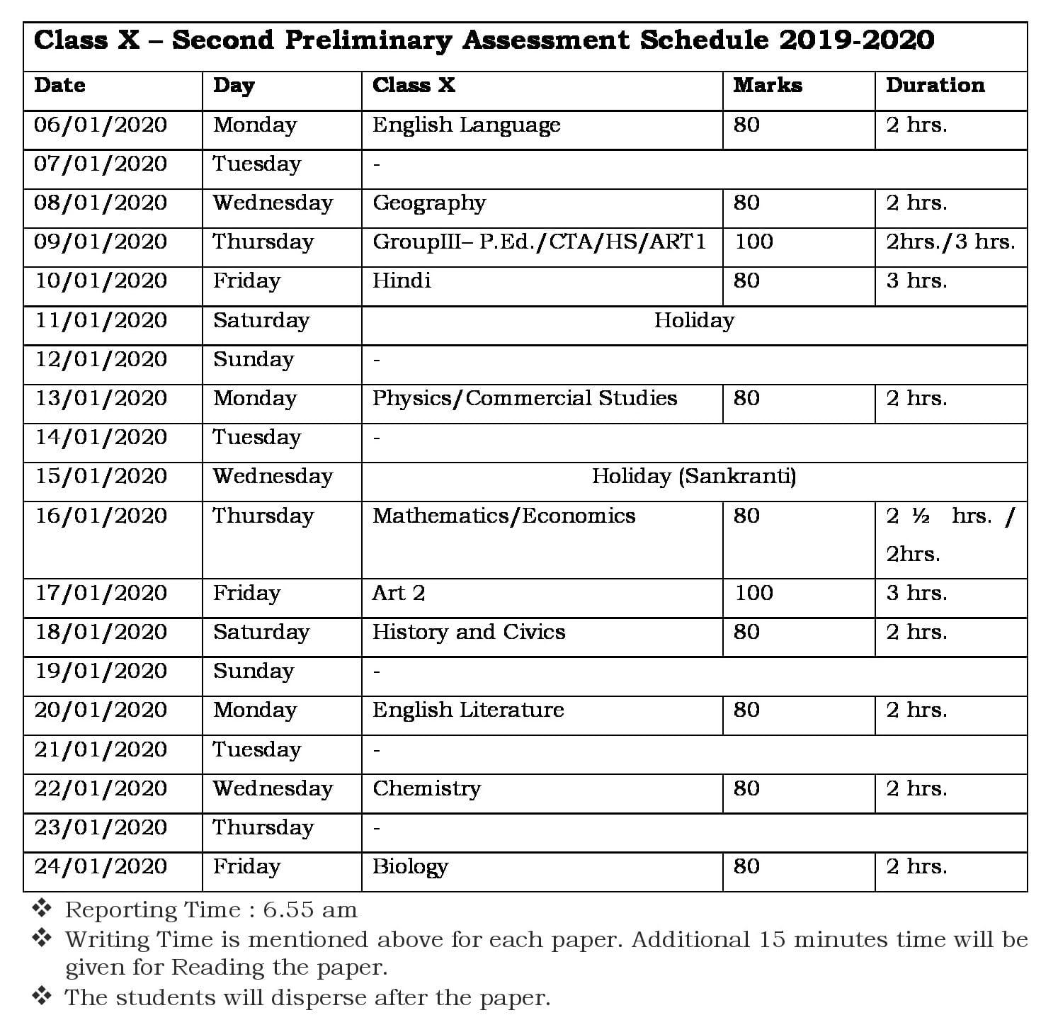 Prelim 2 Schedule for Class X